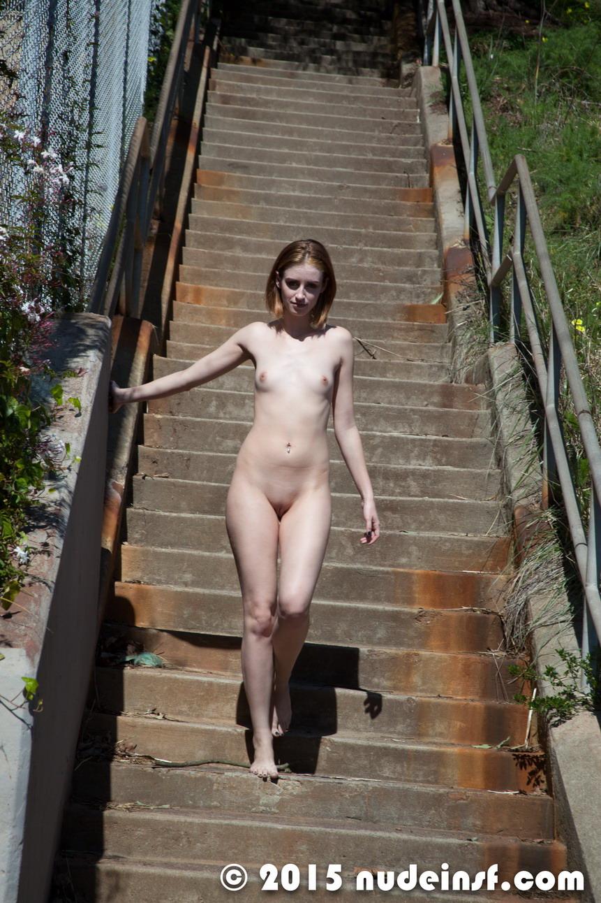 walking nude in street